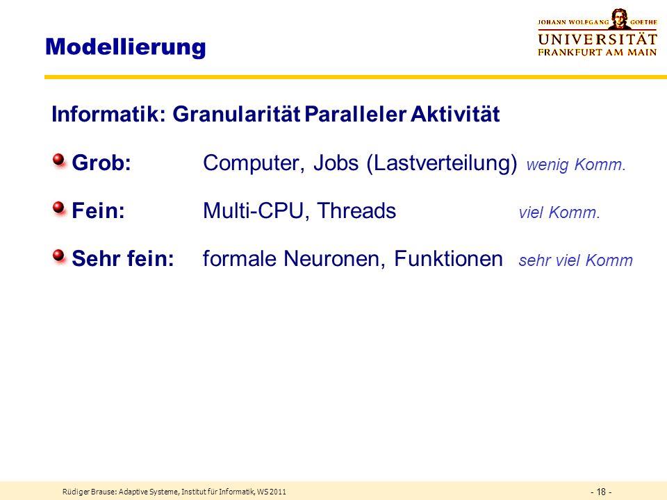Klassifizierung Grundlagen Modellierung Rüdiger Brause: Adaptive Systeme, Institut für Informatik, WS 2011 - 17 -