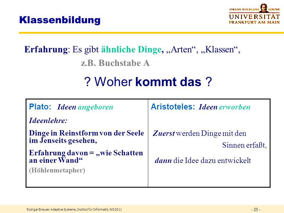Klassifizierung Grundlagen Modellierung Rüdiger Brause: Adaptive Systeme, Institut für Informatik, WS 2011 - 24 -