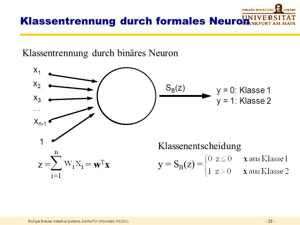 Rüdiger Brause: Adaptive Systeme, Institut für Informatik, WS 2011 - 28 - Klassentrennung Breite x 1 c 2 Höhe x 2 c 1 Klassentrennung durch Trenngerade mit f(x 1 ) = x 2 = w 1 x 1 +w 3 z<0 z=0 bzw.