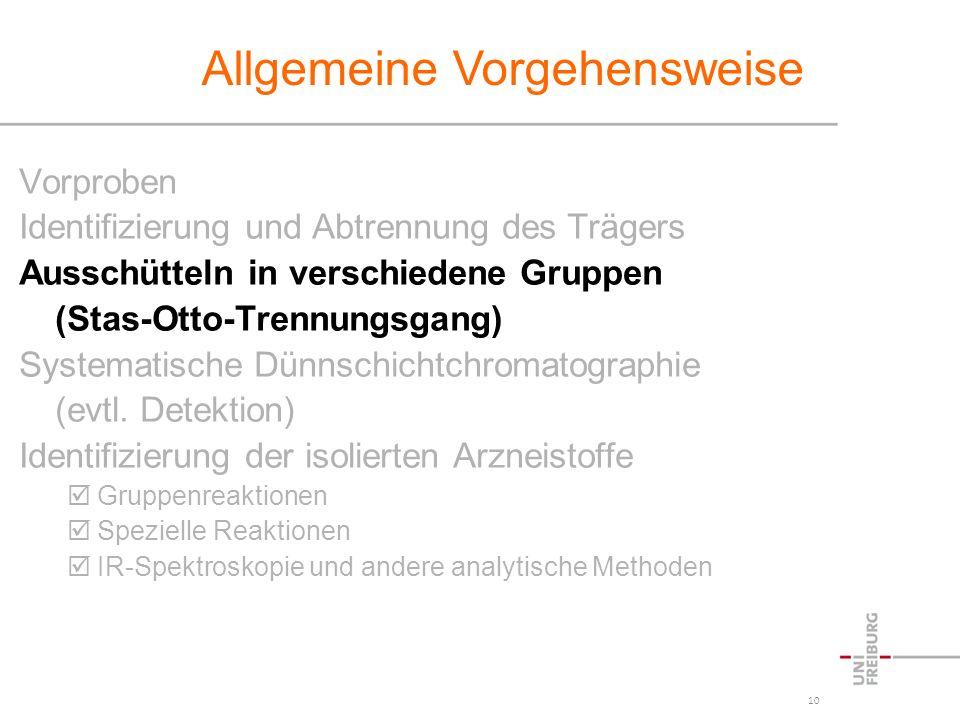 10 Vorproben Identifizierung und Abtrennung des Trägers Ausschütteln in verschiedene Gruppen (Stas-Otto-Trennungsgang) Systematische Dünnschichtchroma