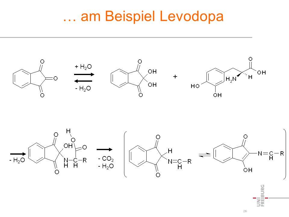 26 … am Beispiel Levodopa + - H 2 O - CO 2 - H 2 O + H 2 O - H 2 O