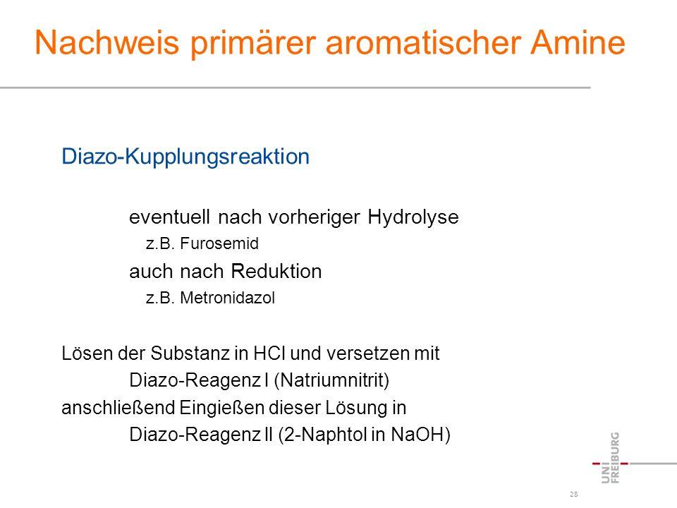 28 Nachweis primärer aromatischer Amine Diazo-Kupplungsreaktion eventuell nach vorheriger Hydrolyse z.B. Furosemid auch nach Reduktion z.B. Metronidaz