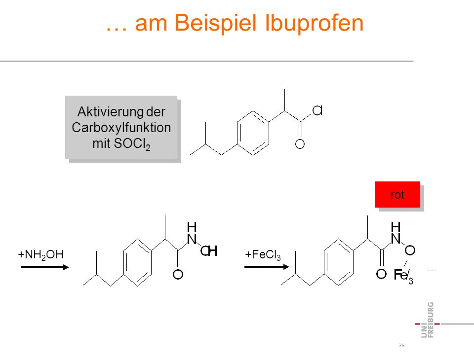 35 … am Beispiel Ibuprofen +NH 2 OH +FeCl 3 Aktivierung der Carboxylfunktion mit SOCl 2 Aktivierung der Carboxylfunktion mit SOCl 2 rot