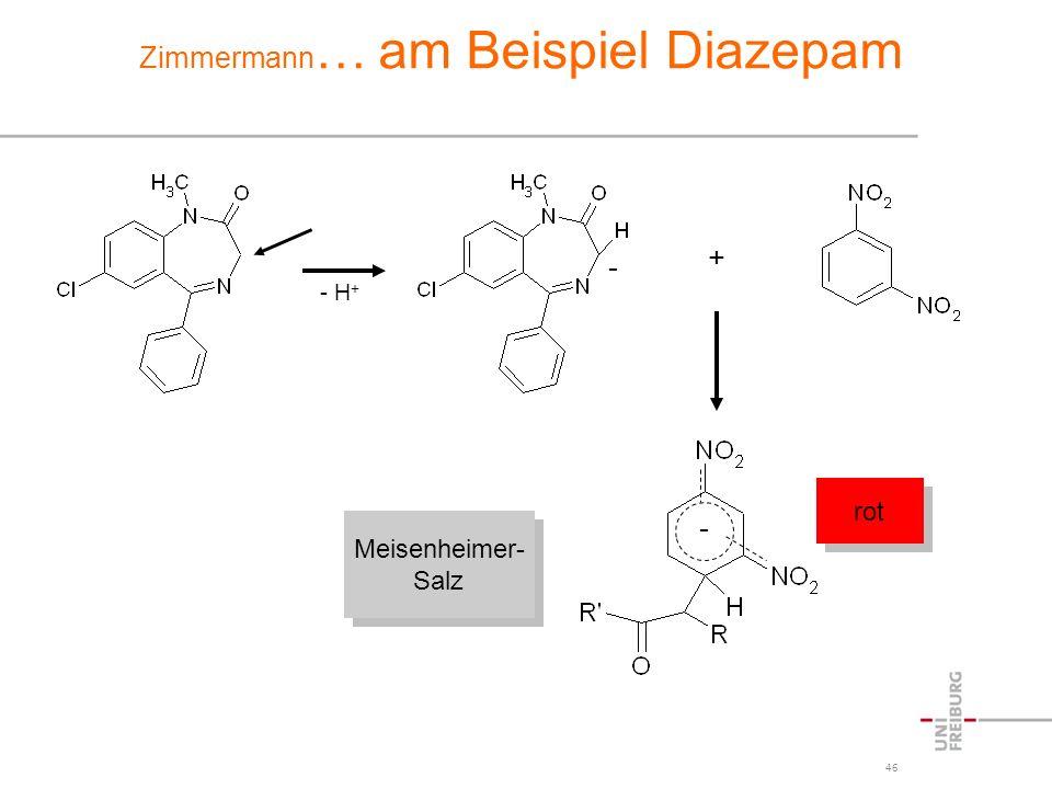 46 Zimmermann … am Beispiel Diazepam - H + - + - Meisenheimer- Salz Meisenheimer- Salz rot