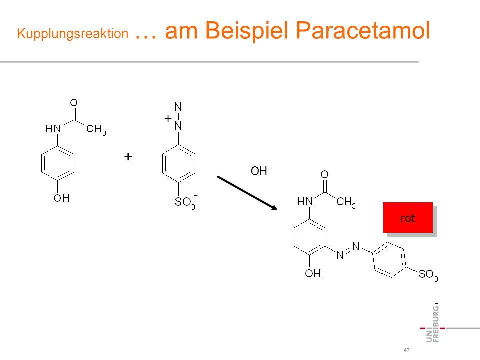 47 Kupplungsreaktion … am Beispiel Paracetamol - + - OH - rot +