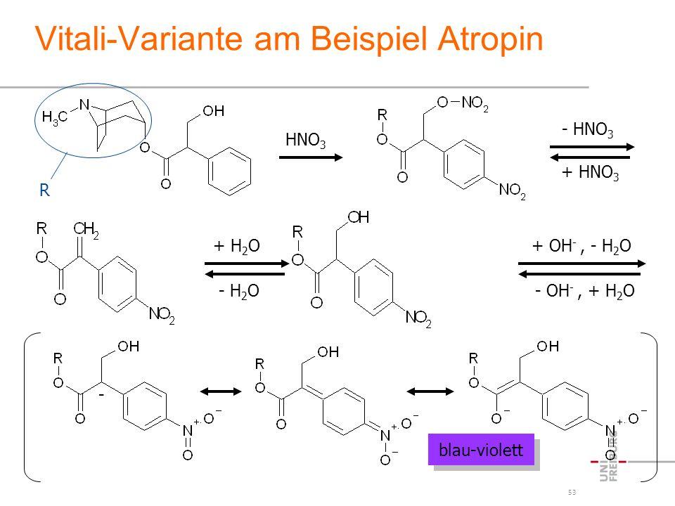53 Vitali-Variante am Beispiel Atropin blau-violett R HNO 3 - HNO 3 + HNO 3 + H 2 O - H 2 O + OH -, - H 2 O - OH -, + H 2 O -