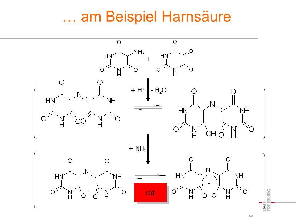 60 … am Beispiel Harnsäure + + H + - H 2 O + NH 3 rot