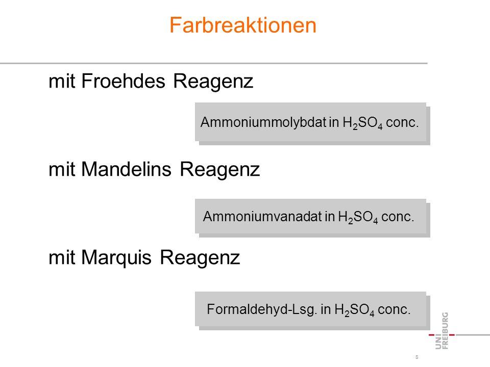 8 Farbreaktionen mit Froehdes Reagenz mit Mandelins Reagenz mit Marquis Reagenz Ammoniummolybdat in H 2 SO 4 conc. Ammoniumvanadat in H 2 SO 4 conc. F