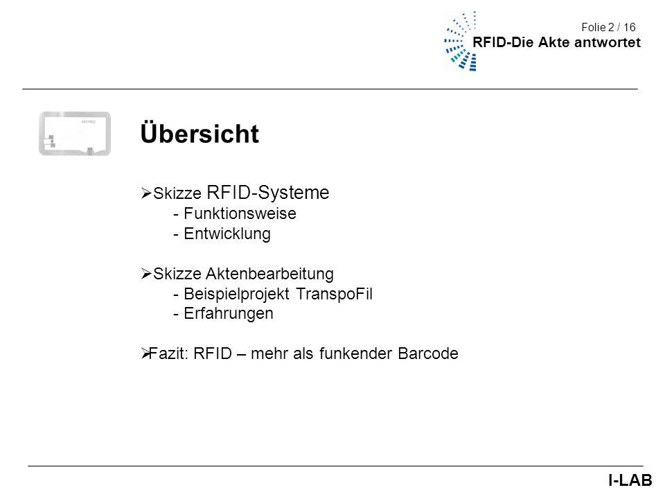 Fakultät III (Umwelt + Technik) 3/9 Skizze RFID-Systeme Kombination drahtloser Funktechniken und Mikrorechner Einfluß Intelligenter Objekte auch auf Verwaltungsbereiche Einsatz von RFID - Registrierung - Lagerung - Überwachung - Transport Pulkerfassung I-LAB Folie 3 / 16 RFID-Die Akte antwortet