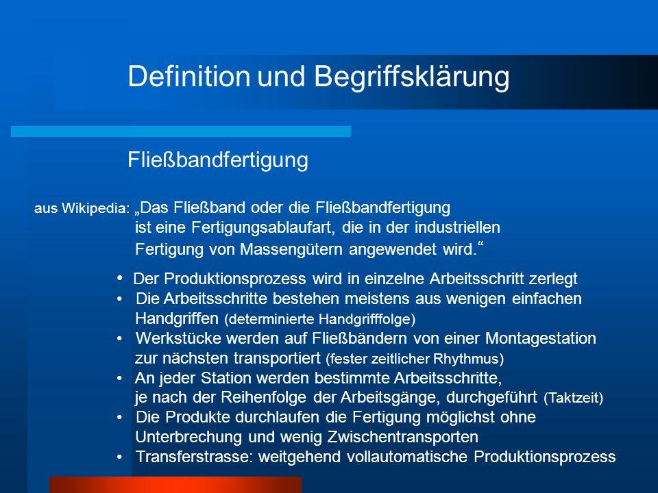 Definition und Begriffsklärung aus Wikipedia: Das Fließband oder die Fließbandfertigung ist eine Fertigungsablaufart, die in der industriellen Fertigu