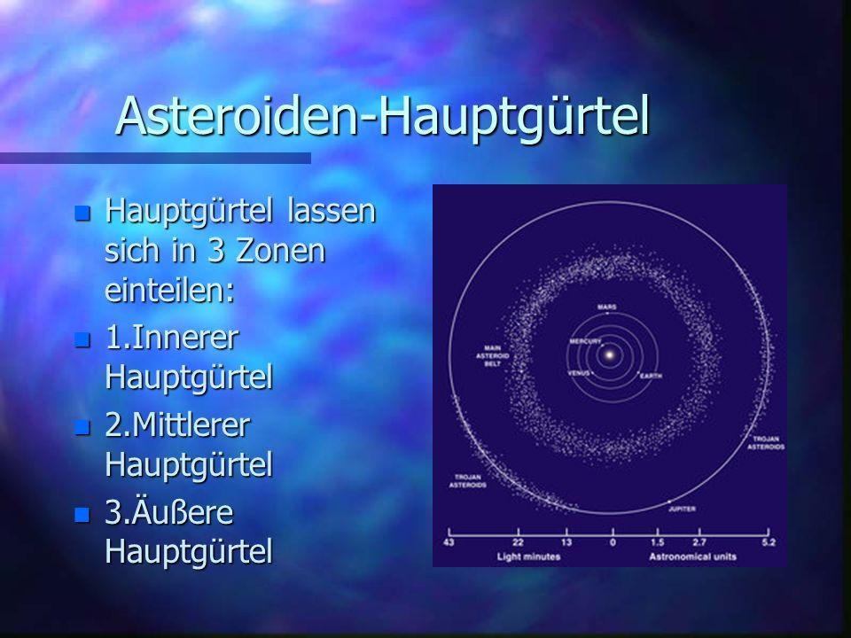 Asteroiden-Hauptgürtel n Hauptgürtel lassen sich in 3 Zonen einteilen: n 1.Innerer Hauptgürtel n 2.Mittlerer Hauptgürtel n 3.Äußere Hauptgürtel