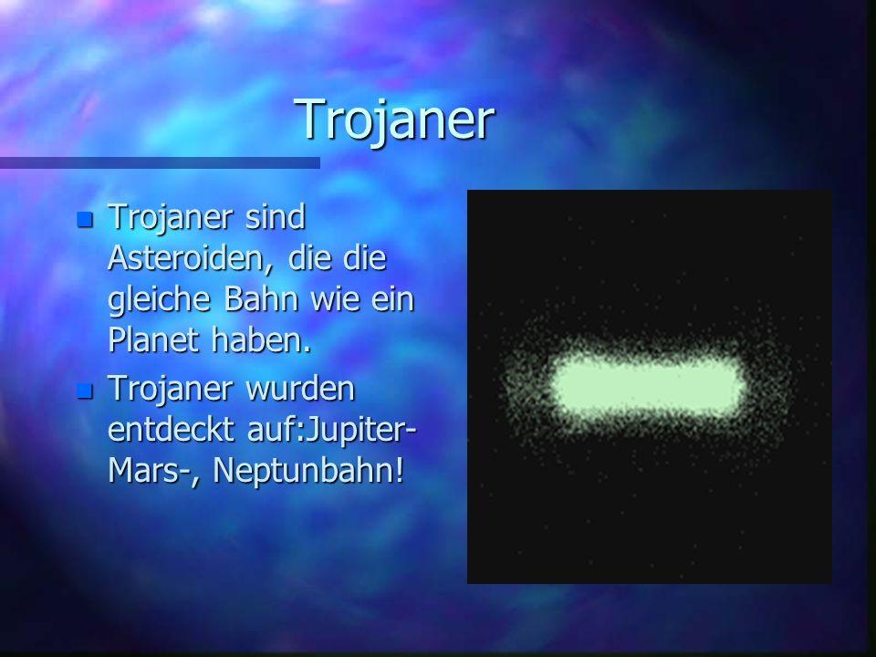 Trojaner n Trojaner sind Asteroiden, die die gleiche Bahn wie ein Planet haben. n Trojaner wurden entdeckt auf:Jupiter- Mars-, Neptunbahn!