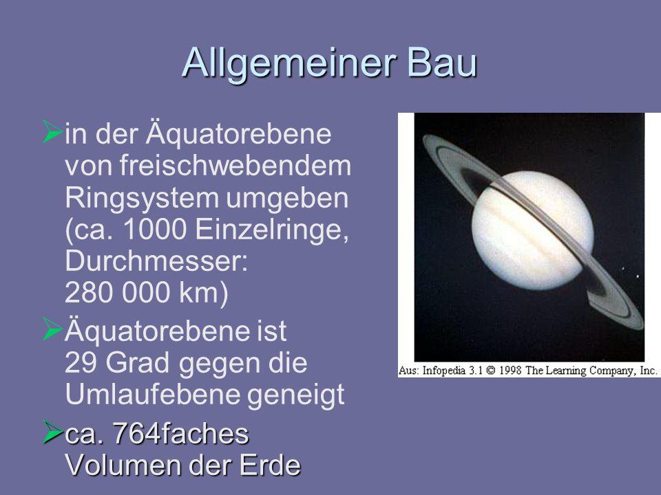 Allgemeiner Bau in der Äquatorebene von freischwebendem Ringsystem umgeben (ca. 1000 Einzelringe, Durchmesser: 280 000 km) Äquatorebene ist 29 Grad ge