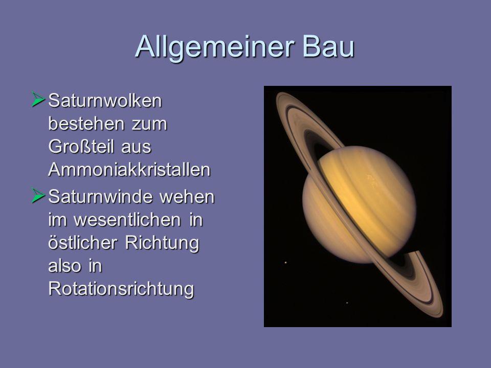 Allgemeiner Bau Saturnwolken bestehen zum Großteil aus Ammoniakkristallen Saturnwolken bestehen zum Großteil aus Ammoniakkristallen Saturnwinde wehen