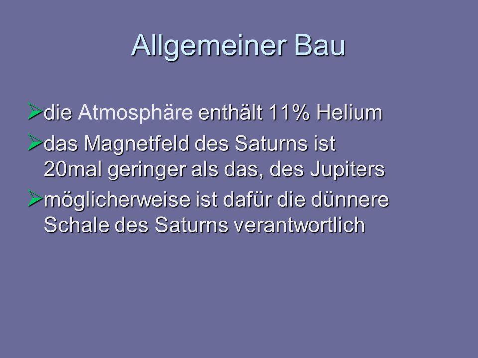 Allgemeiner Bau die enthält 11% Helium die Atmosphäre enthält 11% Helium das Magnetfeld des Saturns ist 20mal geringer als das, des Jupiters das Magne