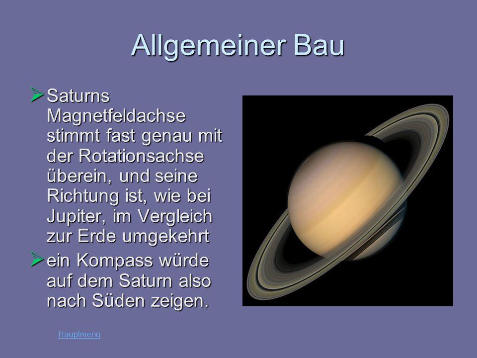 Allgemeiner Bau Saturns Magnetfeldachse stimmt fast genau mit der Rotationsachse überein, und seine Richtung ist, wie bei Jupiter, im Vergleich zur Er