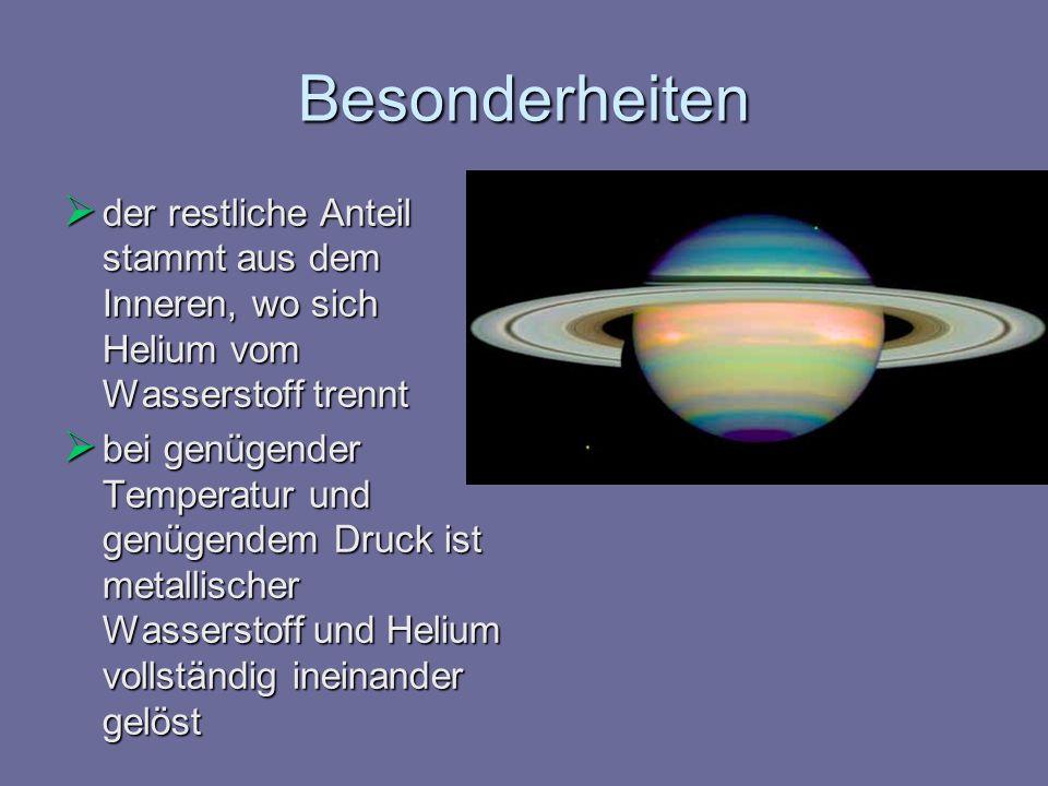 Besonderheiten der restliche Anteil stammt aus dem Inneren, wo sich Helium vom Wasserstoff trennt der restliche Anteil stammt aus dem Inneren, wo sich
