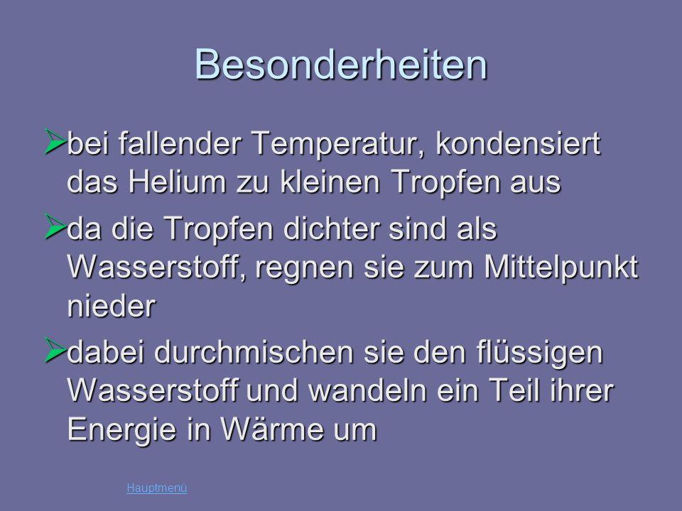 Besonderheiten bei fallender Temperatur, kondensiert das Helium zu kleinen Tropfen aus bei fallender Temperatur, kondensiert das Helium zu kleinen Tro