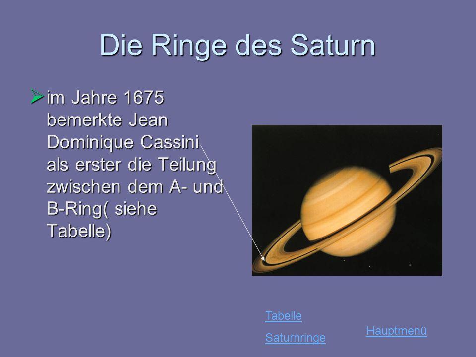 Die Ringe des Saturn im Jahre 1675 bemerkte Jean Dominique Cassini als erster die Teilung zwischen dem A- und B-Ring( siehe Tabelle) im Jahre 1675 bem