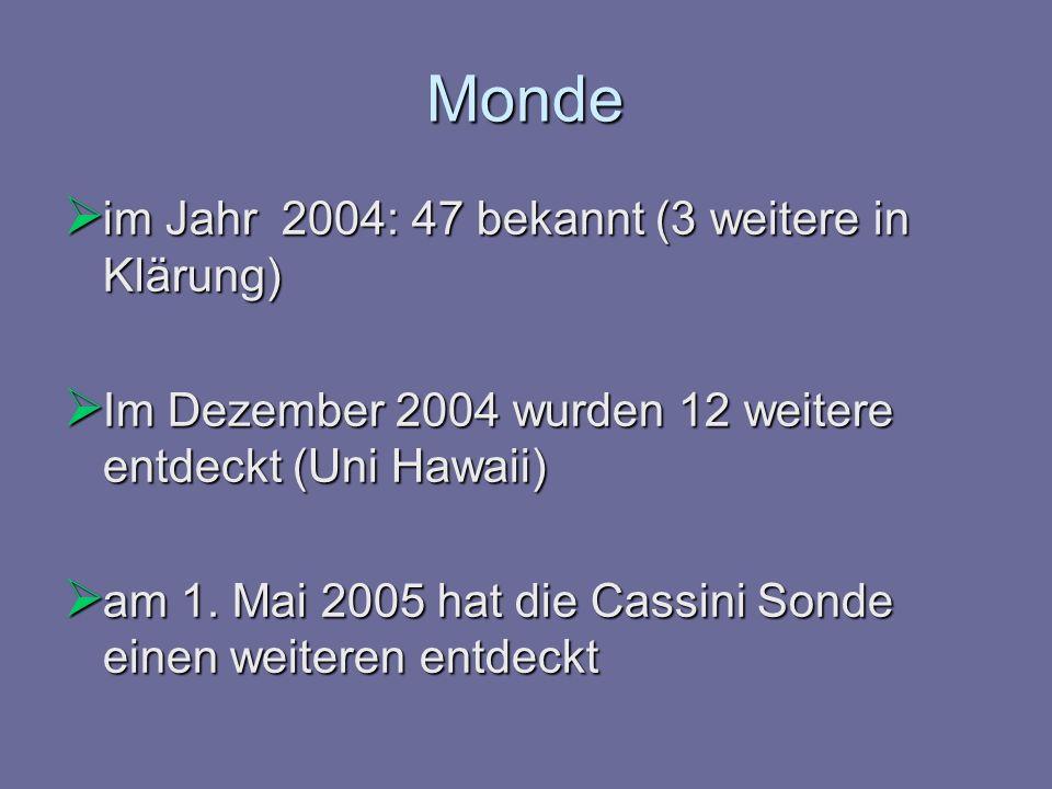 Monde im Jahr 2004: 47 bekannt (3 weitere in Klärung) im Jahr 2004: 47 bekannt (3 weitere in Klärung) Im Dezember 2004 wurden 12 weitere entdeckt (Uni