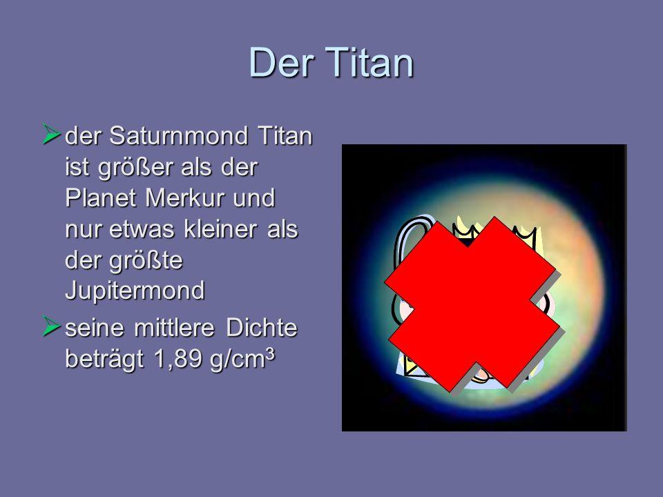 Der Titan der Saturnmond Titan ist größer als der Planet Merkur und nur etwas kleiner als der größte Jupitermond der Saturnmond Titan ist größer als d