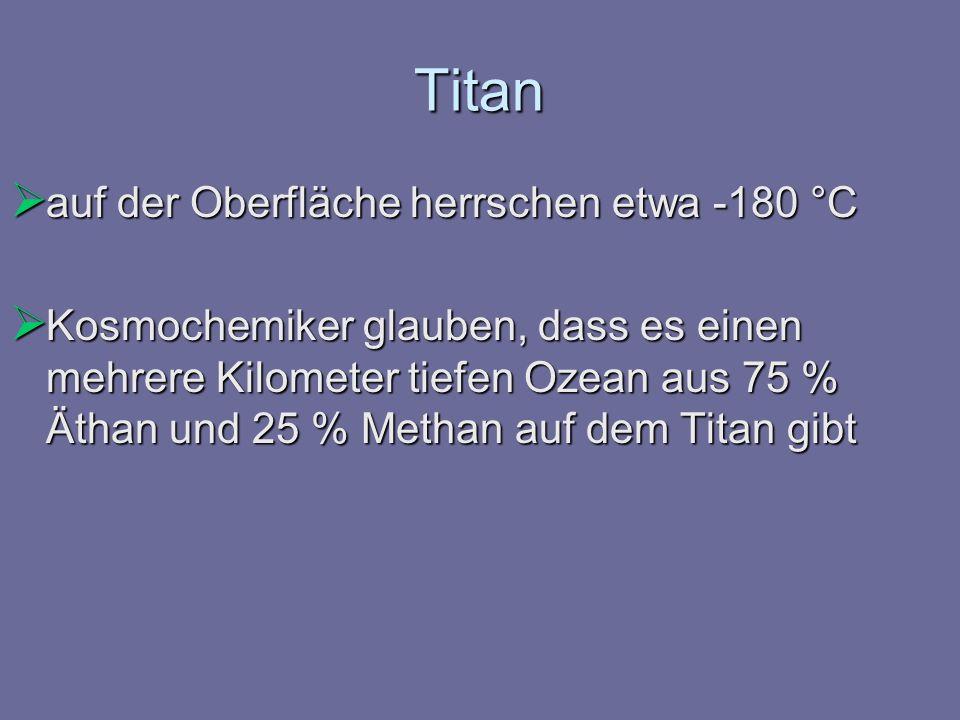 Titan auf der Oberfläche herrschen etwa -180 °C auf der Oberfläche herrschen etwa -180 °C Kosmochemiker glauben, dass es einen mehrere Kilometer tiefe