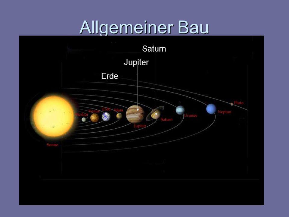 Allgemeiner Bau Atmosphäre besteht aus Wasserstoff, Helium, Methan und Ammoniak sehr kalt, ca.
