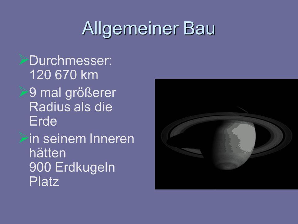 Allgemeiner Bau Durchmesser: 120 670 km 9 mal größerer Radius als die Erde in seinem Inneren hätten 900 Erdkugeln Platz
