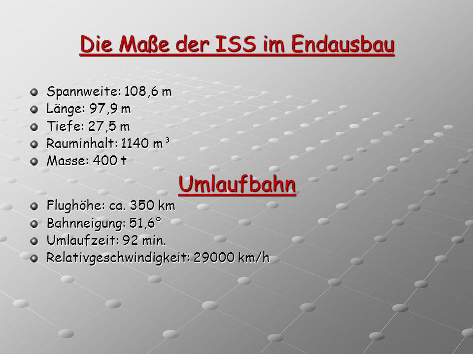 Die Maße der ISS im Endausbau Spannweite: 108,6 m Länge: 97,9 m Tiefe: 27,5 m Rauminhalt: 1140 m³ Masse: 400 t Umlaufbahn Flughöhe: ca. 350 km Bahnnei