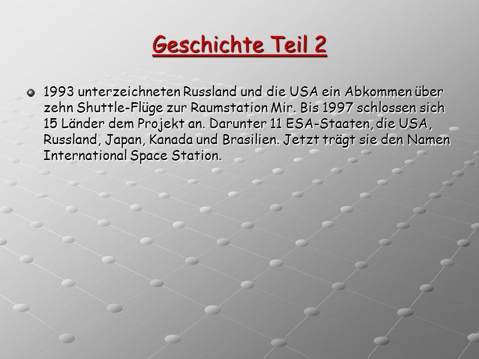 Geschichte Teil 2 1993 unterzeichneten Russland und die USA ein Abkommen über zehn Shuttle-Flüge zur Raumstation Mir. Bis 1997 schlossen sich 15 Lände