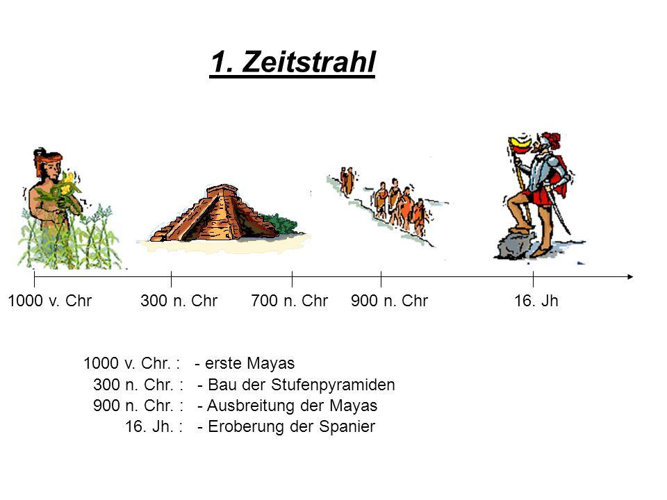 1. Zeitstrahl 1000 v. Chr300 n. Chr700 n. Chr900 n. Chr16. Jh 1000 v. Chr. : - erste Mayas 300 n. Chr. : - Bau der Stufenpyramiden 900 n. Chr. : - Aus