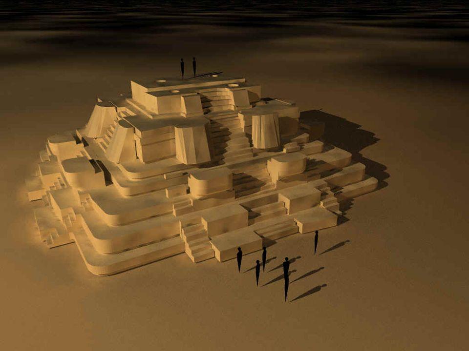 -A-Auf allen 4 Seiten der 9-stufigen Pyramide führen breite Treppen empor -B-Blickt man von der Pyramide der Masken nach Osten erkennt man eine heute bewachsene Fläche (früher offenes Terrain), die an 3 Erdhügel grenzt -D-Der mittlere Erdhügel liegt genau in Richtung Osten -D-Die beiden äußeren Hügel sind von dem mittleren gleich weit entfernt -D-Diese Hügelanordnung war für die Maya sozusagen der Jahreszeitenkalender -Z-Zur Tagundnachtgleichen geht die Sonne direkt über der mittleren Erhebung auf -D-Daraus läßt sich ableiten, daß zur Sommersonnenwende die Sonne direkt über der linken Erhebung aufgeht und zur Wintersonnenwende über der rechten Erhebung -I-Im Umkreis von ca.