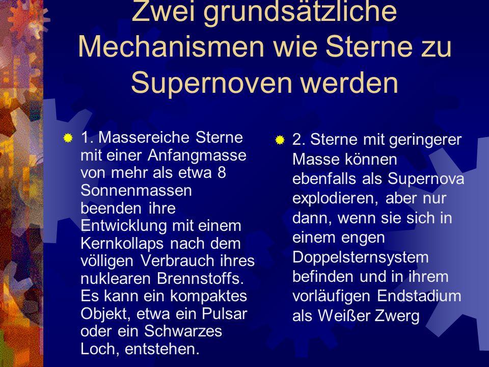 Entstehung eines Neutronensterns Neutronensterne entstehen bei einer Supernova vom Typ II (bereits beschrieben) beispielsweise beim Kollaps des Zentralbereiches Der Kollaps erfolgt, wenn am Ende seiner Entwicklung die Fusionsprozesse im Inneren des Sterns zum Erliegen kommen Sobald sich im Kern Eisen und Nickel angereichert haben, ist keine Fusion mehr möglich.