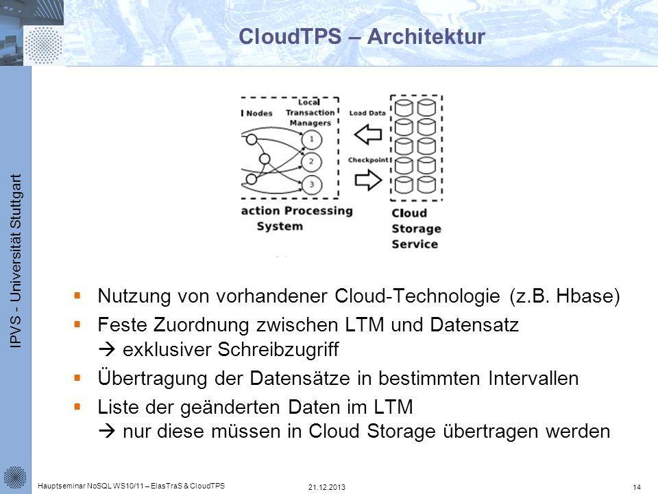 IPVS - Universität Stuttgart CloudTPS – Architektur Nutzung von vorhandener Cloud-Technologie (z.B. Hbase) Feste Zuordnung zwischen LTM und Datensatz