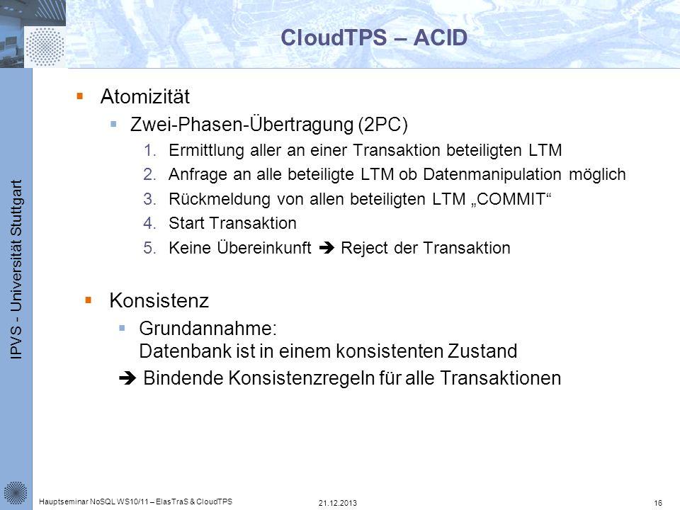 IPVS - Universität Stuttgart CloudTPS – ACID Atomizität Zwei-Phasen-Übertragung (2PC) 1.Ermittlung aller an einer Transaktion beteiligten LTM 2.Anfrag