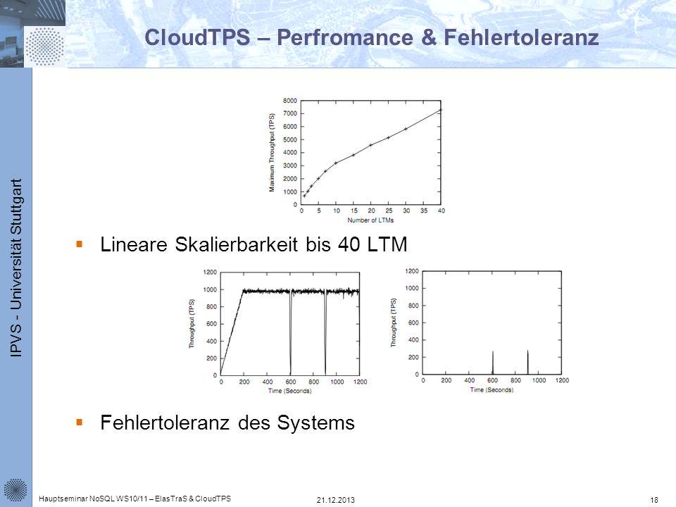 IPVS - Universität Stuttgart CloudTPS – Perfromance & Fehlertoleranz Lineare Skalierbarkeit bis 40 LTM Fehlertoleranz des Systems 21.12.2013 Hauptsemi