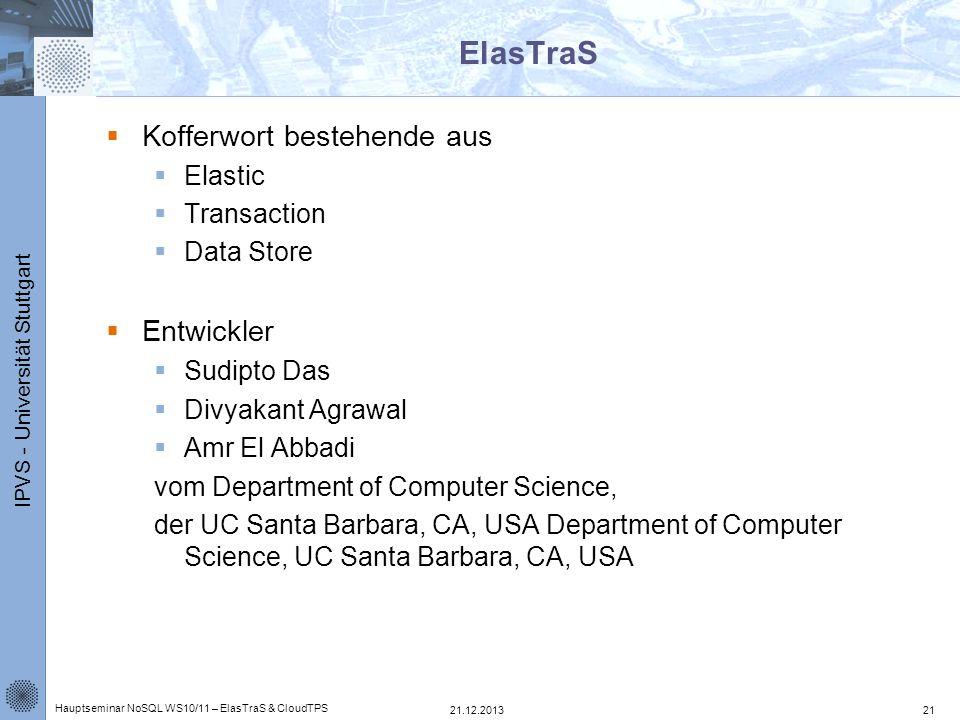IPVS - Universität Stuttgart ElasTraS Kofferwort bestehende aus Elastic Transaction Data Store Entwickler Sudipto Das Divyakant Agrawal Amr El Abbadi