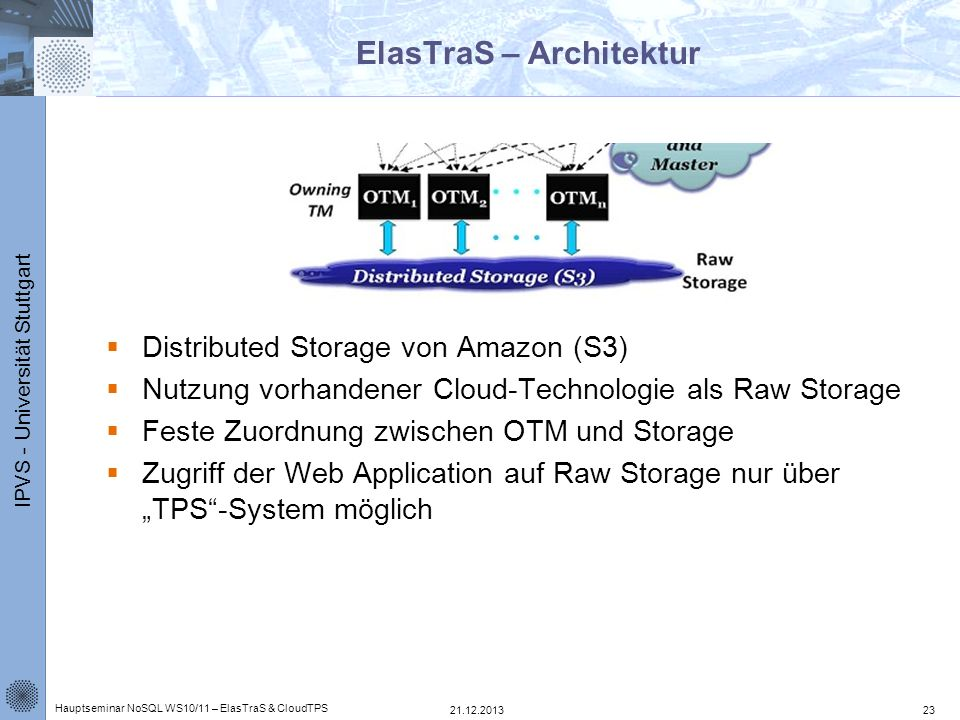 IPVS - Universität Stuttgart ElasTraS – Architektur Distributed Storage von Amazon (S3) Nutzung vorhandener Cloud-Technologie als Raw Storage Feste Zu