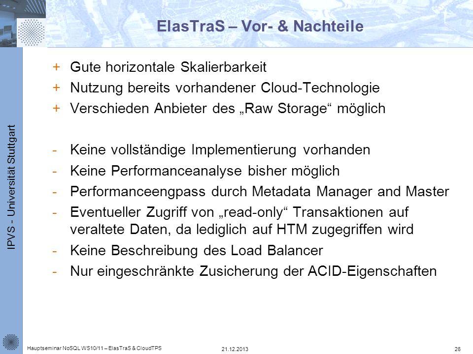 IPVS - Universität Stuttgart ElasTraS – Vor- & Nachteile +Gute horizontale Skalierbarkeit +Nutzung bereits vorhandener Cloud-Technologie +Verschieden