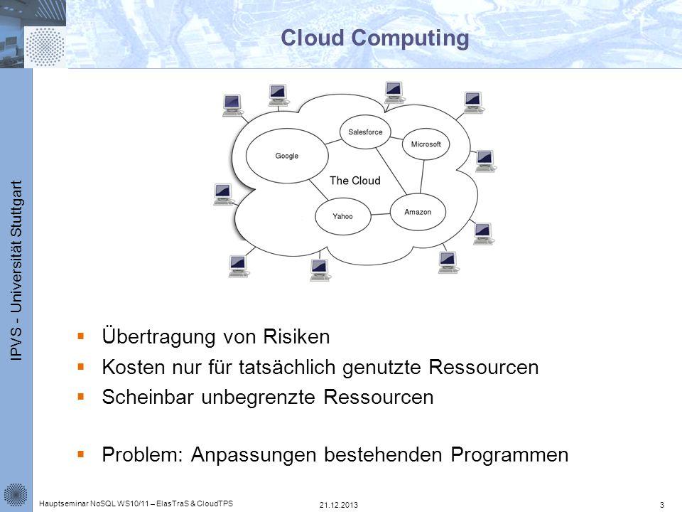 IPVS - Universität Stuttgart ElasTraS – Architektur Exklusiver Schreibzugriff des OTM auf den zugeordneten Raw Storage Verwaltung der OTMs über den Metadata Manager and Master (MMM) Bearbeitung von Read-only Transaktionen in HTM 21.12.2013 Hauptseminar NoSQL WS10/11 – ElasTraS & CloudTPS 24