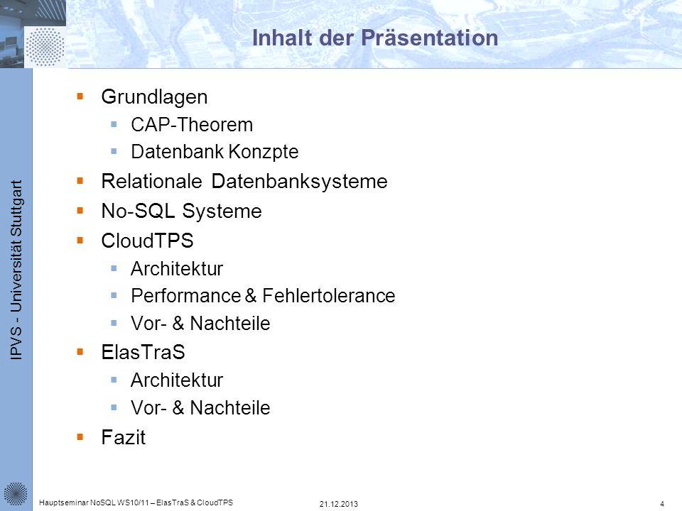 IPVS - Universität Stuttgart ElasTraS – Transaktionsverlauf 1.Client stellt Anfrage per Http Request 2.Anfrage wird über einen Load Balancer an HTM übertragen 3.HTM entscheidet ob er die Transaktion abhandeln kann 4.Look Up der beteiligten OTM 5.Weiterleitung der Subtransaktionen an die einzelnen OTM 6.Checkpoint übertragen und Distributed Storage 21.12.2013 Hauptseminar NoSQL WS10/11 – ElasTraS & CloudTPS 25