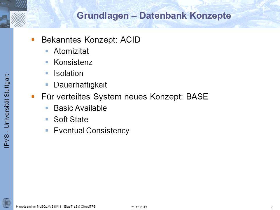 IPVS - Universität Stuttgart Grundlagen – Datenbank Konzepte Bekanntes Konzept: ACID Atomizität Konsistenz Isolation Dauerhaftigkeit Für verteiltes Sy