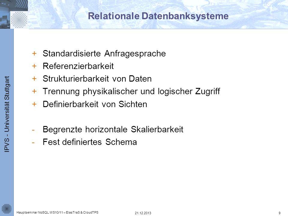 IPVS - Universität Stuttgart Relationale Datenbanksysteme +Standardisierte Anfragesprache +Referenzierbarkeit +Strukturierbarkeit von Daten +Trennung