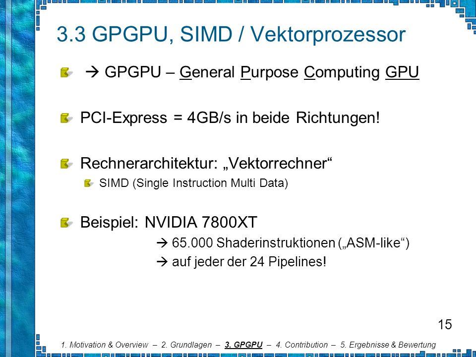 3.3 GPGPU, SIMD / Vektorprozessor GPGPU – General Purpose Computing GPU PCI-Express = 4GB/s in beide Richtungen! Rechnerarchitektur: Vektorrechner SIM
