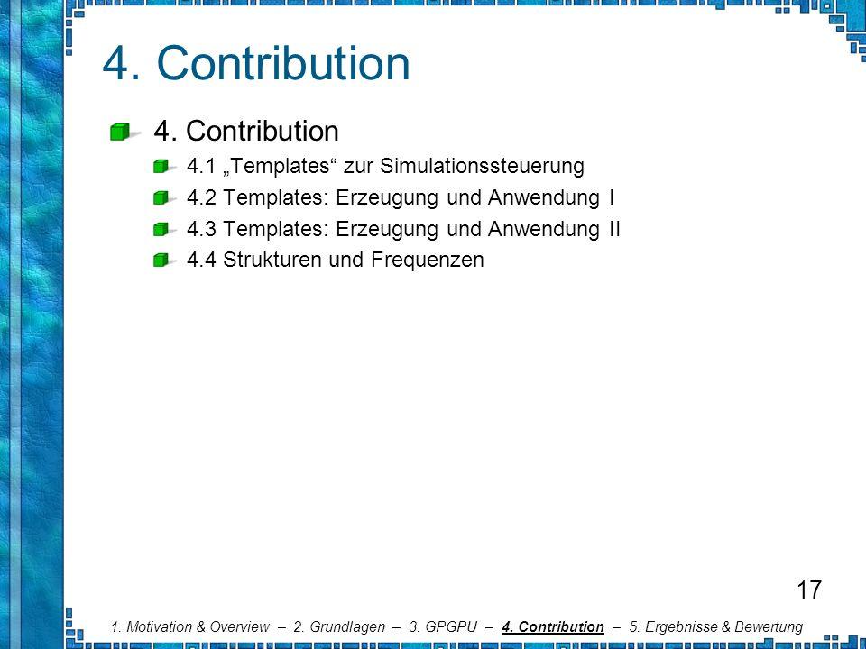 4. Contribution 4.1 Templates zur Simulationssteuerung 4.2 Templates: Erzeugung und Anwendung I 4.3 Templates: Erzeugung und Anwendung II 4.4 Struktur