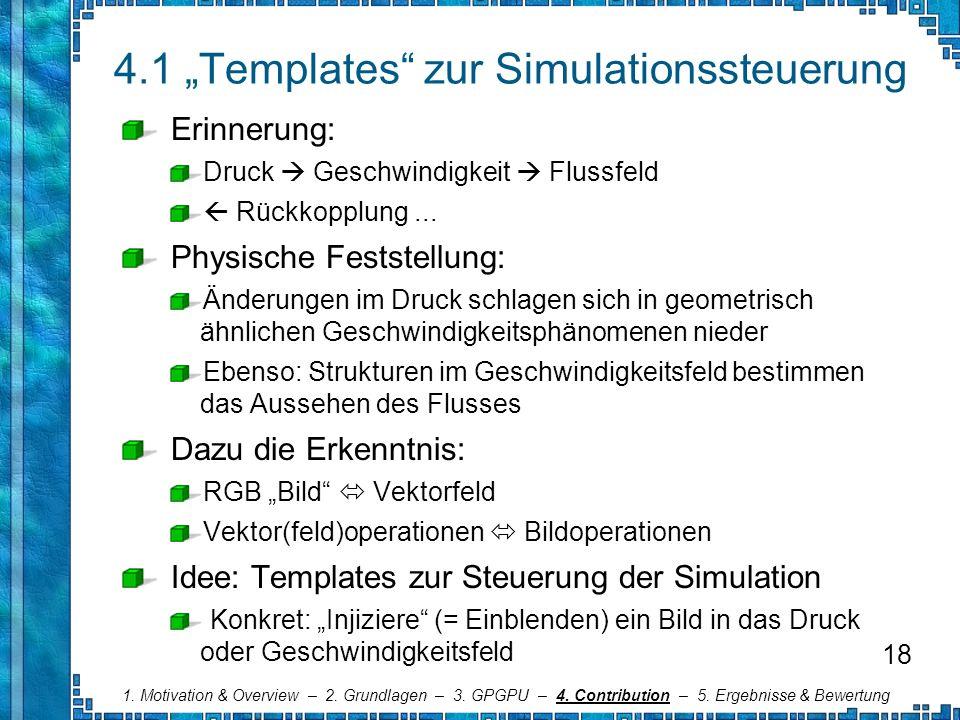 4.1 Templates zur Simulationssteuerung Erinnerung: Druck Geschwindigkeit Flussfeld Rückkopplung... Physische Feststellung: Änderungen im Druck schlage