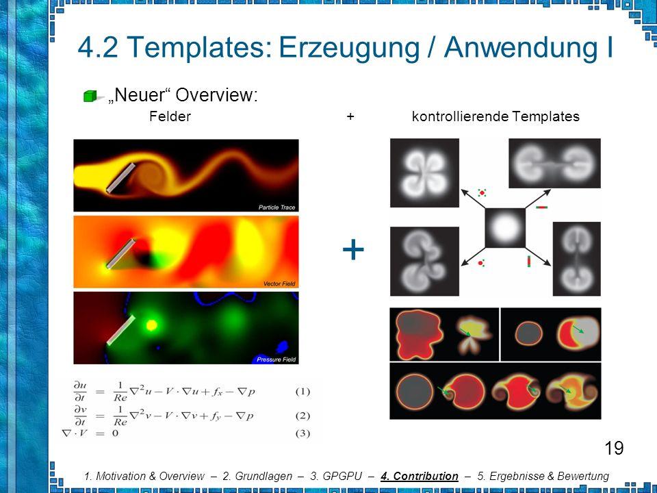 4.2 Templates: Erzeugung / Anwendung I Neuer Overview: Felder+kontrollierende Templates 1. Motivation & Overview – 2. Grundlagen – 3. GPGPU – 4. Contr