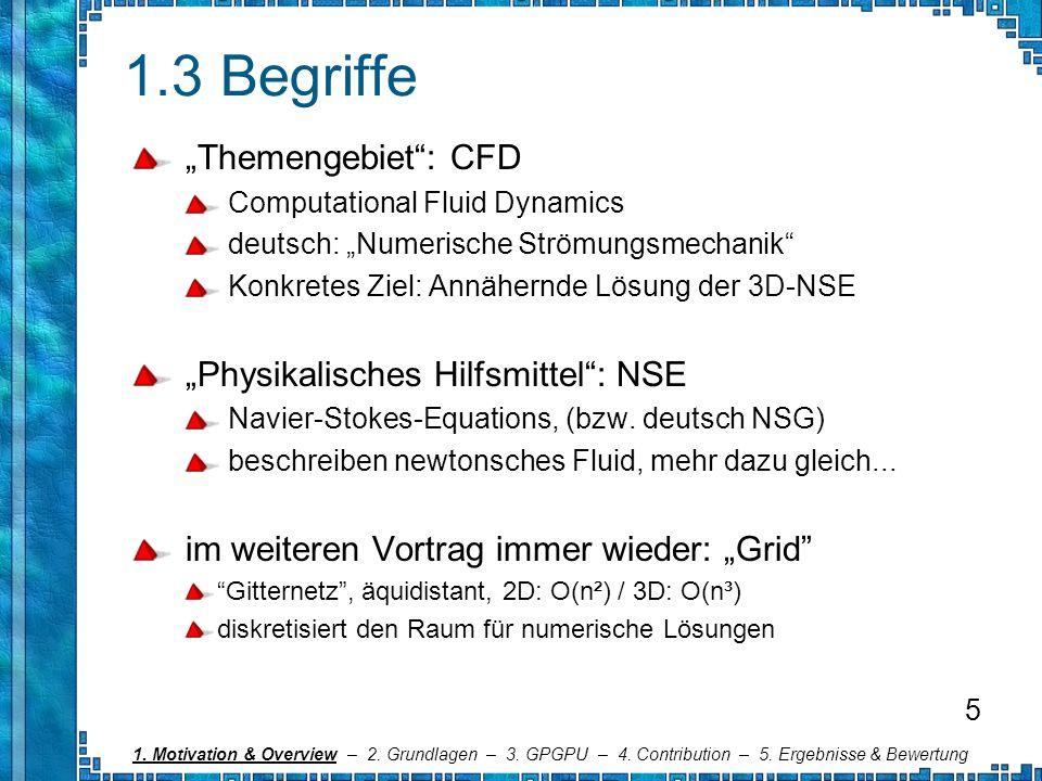 1.3 Begriffe Themengebiet: CFD Computational Fluid Dynamics deutsch: Numerische Strömungsmechanik Konkretes Ziel: Annähernde Lösung der 3D-NSE Physika