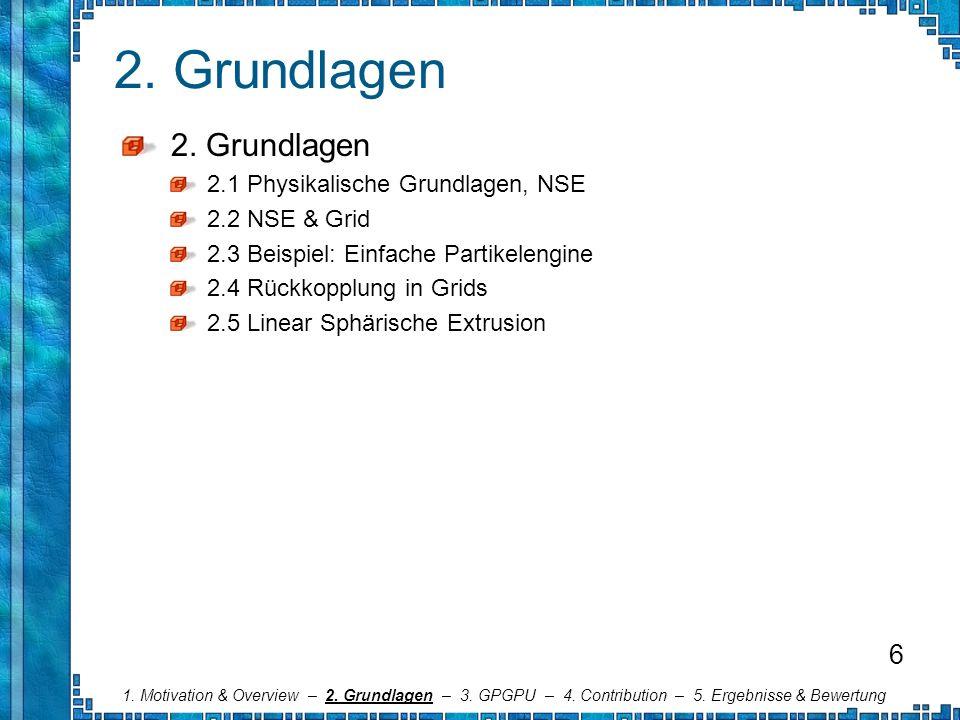 2. Grundlagen 2.1 Physikalische Grundlagen, NSE 2.2 NSE & Grid 2.3 Beispiel: Einfache Partikelengine 2.4 Rückkopplung in Grids 2.5 Linear Sphärische E