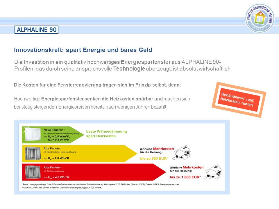 Innovationskraft: spart Energie und bares Geld Die Investition in ein qualitativ hochwertiges Energiesparfenster aus ALPHALINE 90- Profilen, das durch